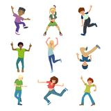Set of dancing people characters in modern dance styles. People dancing character in different poses concept. Energetic young guy, teenager, dancing, waving his Royalty Free Stock Images