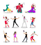 Set of Dancing Peoples Flat Vector Illustrations Royalty Free Stock Image