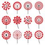 Set dandelions serce kształtował na białym tle Obrazy Stock