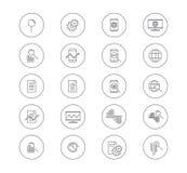Set dane analizy ikony Wektor Kreskowe ikony z magnifier, wykresem, kółkowym wykresem i segmentem, gadżety, planeta Obrazy Stock