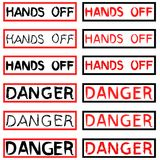 Set of Danger and Hand Off inscriptions Stock Photos