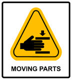 Set of danger Moving Parts signs, vector illustration. Set of danger Moving Parts signs in yellow triangle with hands, vector illustration warning banner Royalty Free Stock Photos