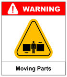 Set of danger Moving Parts signs, vector illustration. Set of danger Moving Parts signs in yellow triangle with man between two press, vector illustration Stock Photography