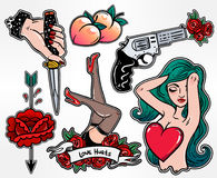 Set of danger and femininity patches. Royalty Free Stock Photo