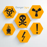 Set of danger signs and symbols. Royalty Free Stock Image