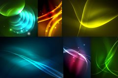 Set of dark abstract backgrounds with glowing geometric shapes. Vector digital technology backgrounds royalty free illustration