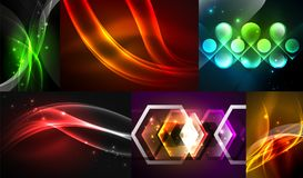 Set of dark abstract backgrounds with glowing geometric shapes. Vector digital technology backgrounds Royalty Free Stock Image
