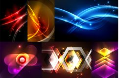 Set of dark abstract backgrounds with glowing geometric shapes. Vector digital technology backgrounds stock illustration