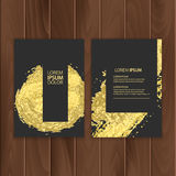 Set of dark banners decoration with gold brushes, located on a wooden substrate vector eps 10 Royalty Free Stock Photos