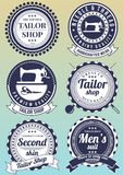 Set of dark blue round badges for tailor shops. Royalty Free Stock Photo