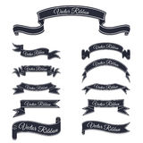 Set of dark blue vector banner ribbons. Stock Photos