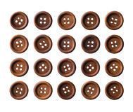 Set of dark brown wooden buttons Stock Image