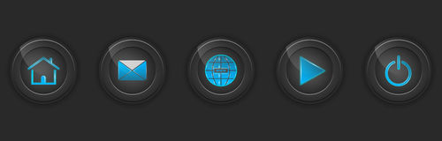 Set of dark buttons for web design Royalty Free Stock Photos
