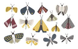Set of dark colored doodle moths isolated on white background. Nights butterflies hand drawn collection. Colorful vector vector illustration