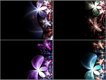 Set of dark fractal flowers Stock Photos