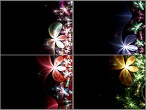 Set of dark fractal flowers Royalty Free Stock Photography