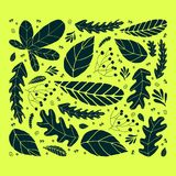 Set of dark green leaves on a yellow background. Hand drawn cute design. vector illustration