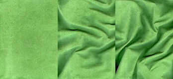 Set of dark green suede leather textures. For background Stock Photography
