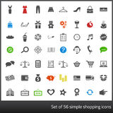 Set of 56 dark grey icons related to shopping with. 56 Dark grey icons related to shopping with white background stock illustration
