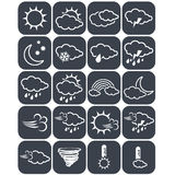 Set of dark grey weather buttons, elements of forecast, line design - icon of sun, cloud, rain, moon, snow, wind, whirlwind, rainb Royalty Free Stock Photos