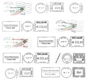 Set of dark italian postmarks Royalty Free Stock Image