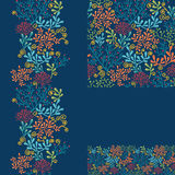 Set of dark plants seamless pattern and borders Royalty Free Stock Photos