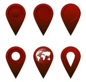 A set of 6 of dark red Geolocation of flat icons. stock illustration