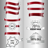 Set of dark red glossy ribbons Royalty Free Stock Photos