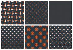 Set dark seamless marine pattern Royalty Free Stock Images