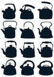 Set of dark silhouettes of kettles for plate. Vector illustration. Vector collection of silhouettes of kettles for water boiling on a white background Stock Image