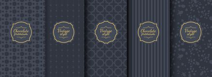 Set of dark vintage seamless backgrounds for luxury packaging design. Geometric pattern in black. Suitable for premium royalty free illustration