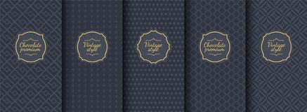Set of dark vintage seamless backgrounds for luxury packaging design. Geometric pattern in black. Suitable for premium stock illustration