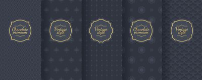 Set of dark vintage seamless backgrounds for luxury packaging design. Geometric pattern in black. Suitable for premium boxes of cosmetics, wine, jewelry vector illustration