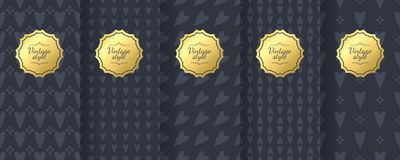 Set of dark vintage seamless backgrounds for luxury packaging design. Geometric pattern in black. Suitable for premium boxes of cosmetics, wine, jewelry royalty free illustration