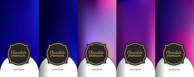 Set of dark vintage seamless backgrounds for luxury packaging design. Luxury template label set. Modern colorful backgrounds for flowing packaging design royalty free illustration