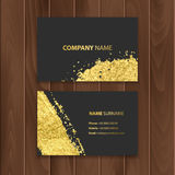 Set of dark visit cards decoration with gold brushes, located on a wooden substrate vector eps 10 Royalty Free Stock Photo