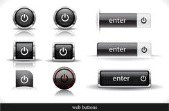Set of dark  web buttons Royalty Free Stock Photo