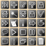 Set darkly - white buttons with web icons for the Stock Photo