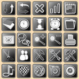 Set Darkly - White Buttons With Web Icons For The Royalty Free Stock Image