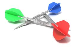 Set of darts arranged in triangle. Side view Stock Photography