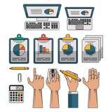 Set of data analysis symbols. Vector illustration graphic design Royalty Free Stock Photo