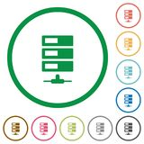 Data network outlined flat icons. Set of data network color round outlined flat icons on white background Stock Photography