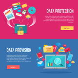 Set of Data Protection and Provision Web Banner Royalty Free Stock Photography