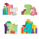 Set of dates baby is birthday with boxes with bows, unicorn, elephant Stock Images