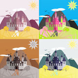 Set of day castle landscapes. Nice and simple illustration Royalty Free Stock Photos