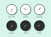 Set of day and night clock for time zones different cities Royalty Free Stock Photo