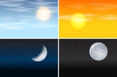 Set of day and night scenes. Illustration stock illustration
