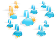 Set of  day weather forecast tag labels Stock Photo