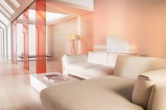 Conner of daybed sofa. Set of daybed sofa at the end of corridor in a house Stock Photography
