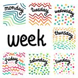 Set of days in a week hand drawn illustrations royalty free illustration